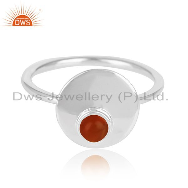Exporter Red Onyx Gemstone 925 Silver Ring Manufacturer of Custom Jewelry