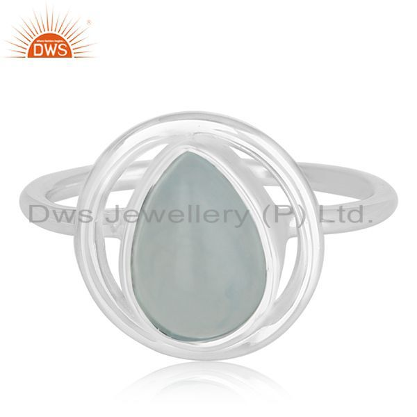 Exporter Aqua Chalcedony Gemstone 925 Silver Private Label Ring Manufacturer