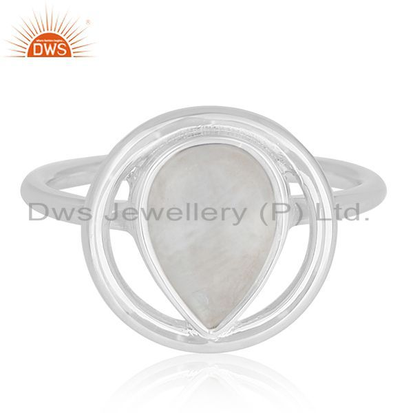 Exporter Rainbow Moonstone Sterling Silver Designer Ring Wholesale Jewelry