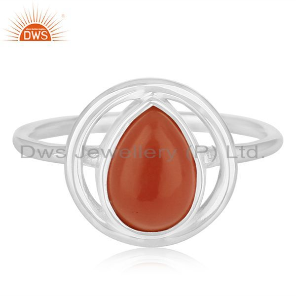 Exporter Carnelian Chalcedony Gemstone 925 Silver Handmade Ring Suppliers