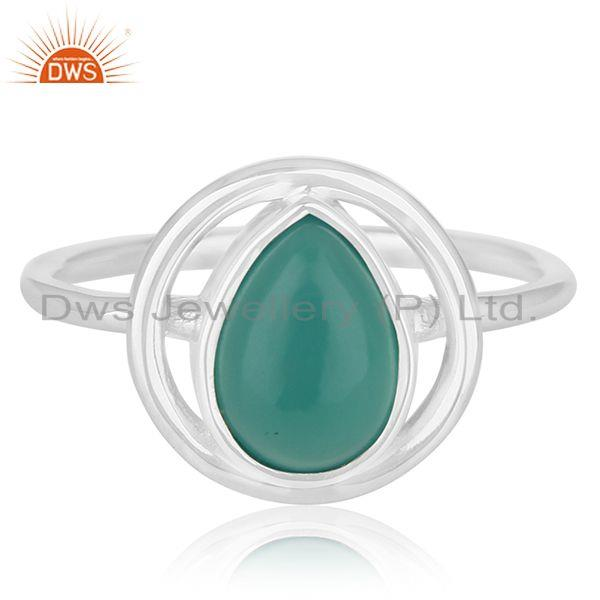 Exporter New Design Sterling Silver Green Onyx Gemstone Ring Jewelry Wholesale