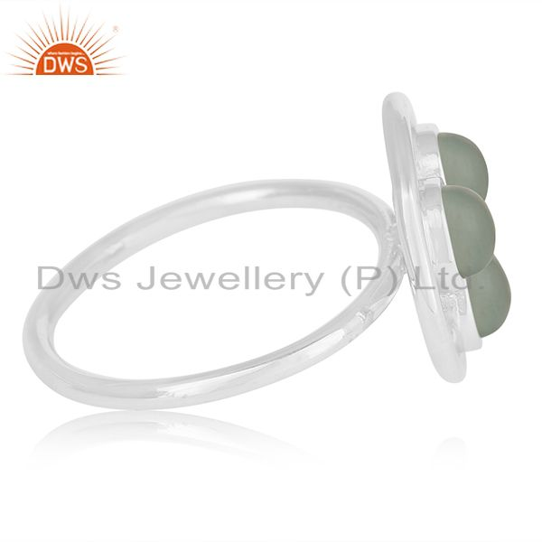 Exporter Aqua Chalcedony Gemstone 925 Sterling Silver Round Ring Manufacturer India