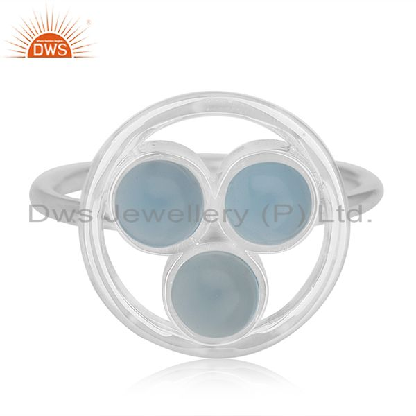 Exporter Blue Chalcedony Gemstone 925 Sterling Silver Round Circle Ring Manufacturer