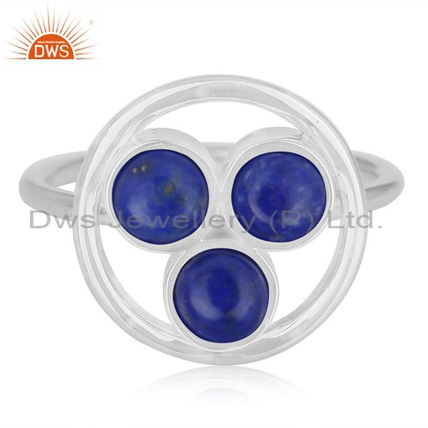 Exporter Lapis Lazuli Gemstone 925 Sterling Silver Round Circle Ring Manufacturer India