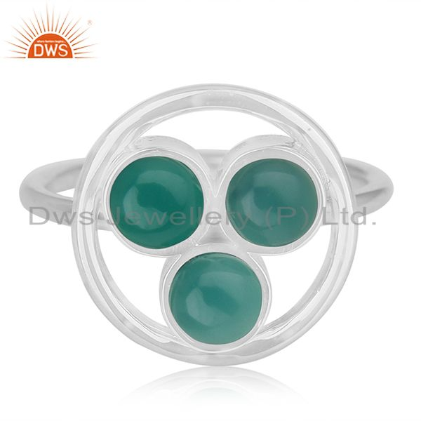 Exporter Green Onyx Gemstone 925 Sterling Silver Ring Manufacturer of Custom Jewelry