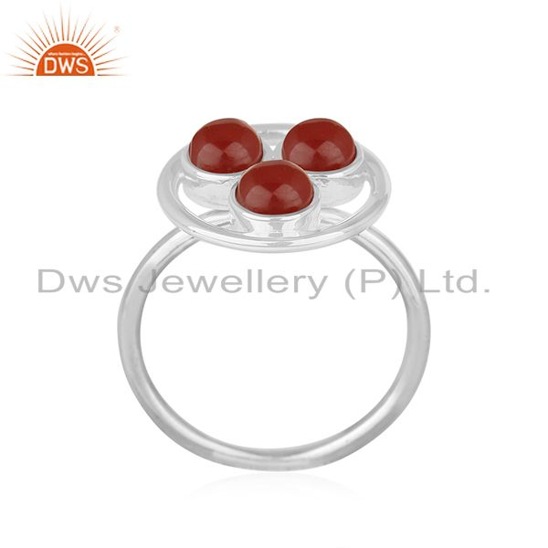 Exporter Red Onyx Gemstone 925 Sterling Silver Cocktail Ring Manufacturer of Jewellery