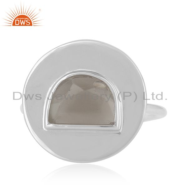 Exporter Plain 925 Sterling Silver Crystal Quartz Ring Manufacturer of Jewelry