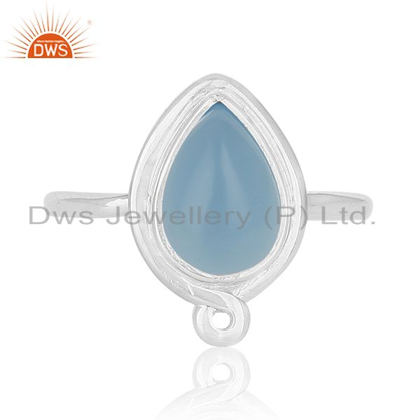 Exporter Handmade Sterling Silver Blue Chalcedony Gemstone Ring Jewelry
