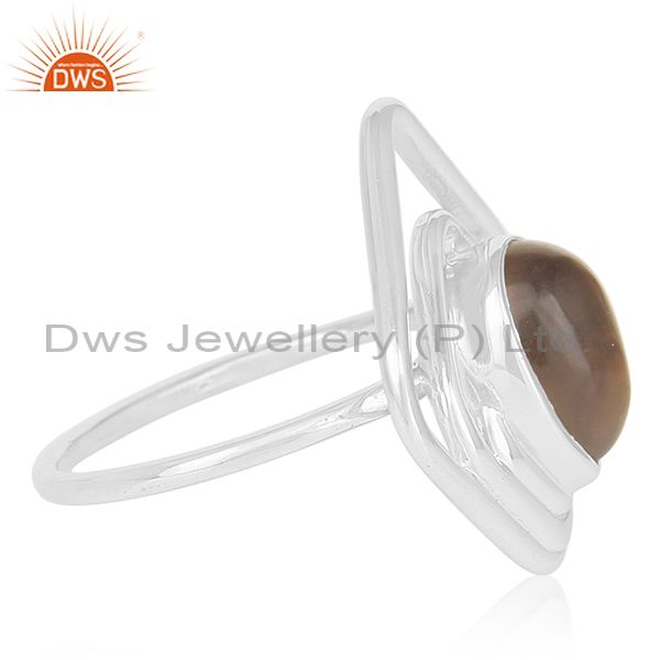 Exporter Smoky Quartz 925 Sterling Silver Gemstone Women Ring Jewelry Supplier