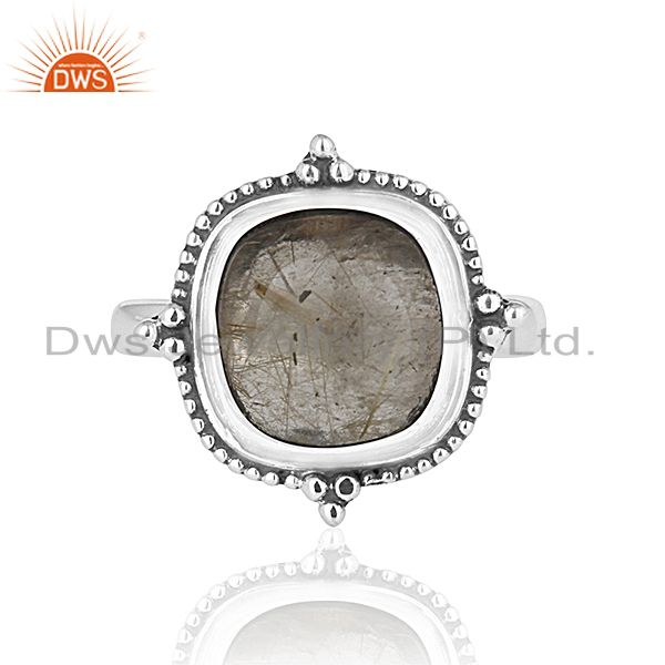 Exporter Golden Rutile Gemstone Oxidized 925 Silver Ring Manufacturer for Designers India