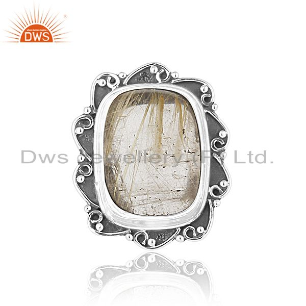 Exporter Black Oxidized Sterling Silver Rutile Gemstone Ring Wholesale Silver Jewelry