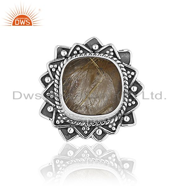 Exporter Black Oxidized 92.5 Silver Golden Gemstone Cocktail Ring Jewelry Manufacturer