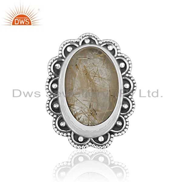 Exporter Oxidized Silver Golden Gemstone Private Label Ring Jewelry Manufacturer India