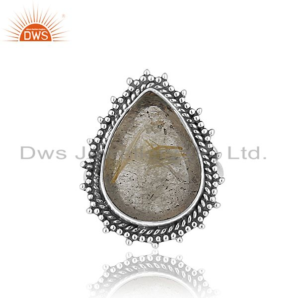 Exporter Golden Rutile 925 Silver Oxidized Custom Ring Jewelry Manufacturer from India