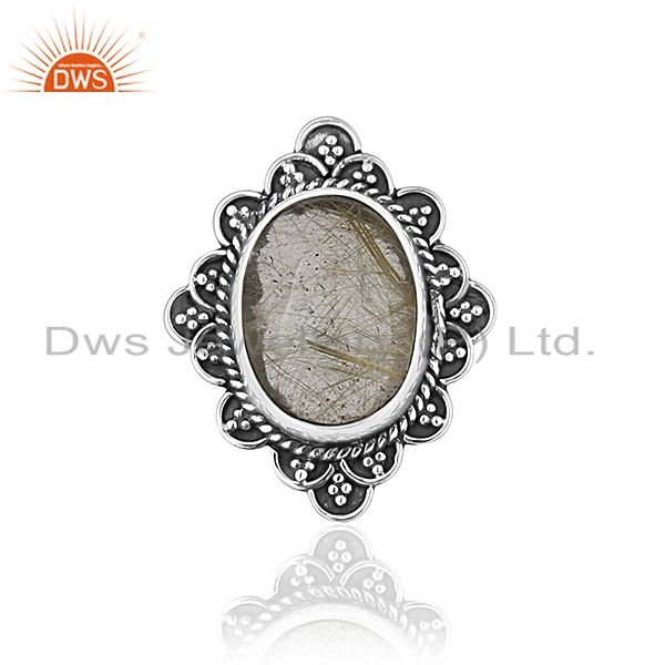 Exporter Golden Gemstone 925 Silver Ring Jewelry Manufacturer for Designer From India