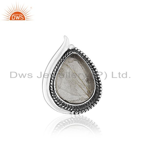 Exporter Golden Rutile Gemstone 925 Silver Oxidized Ring Manufacturer