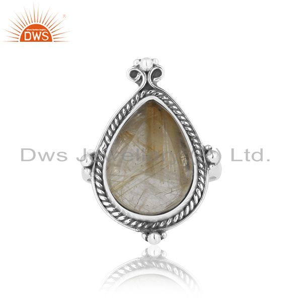 Exporter Genuine Golden Rutile Gemstone Sterling Silver Custom Ring Jewelry Manufacturer