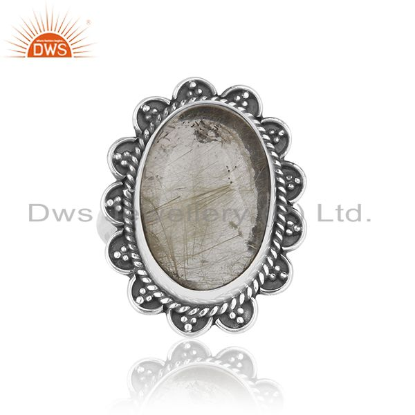 Exporter Natural Golden Rutile Quartz Gemstone 925 Silver Oxidized Ring Manufacturers