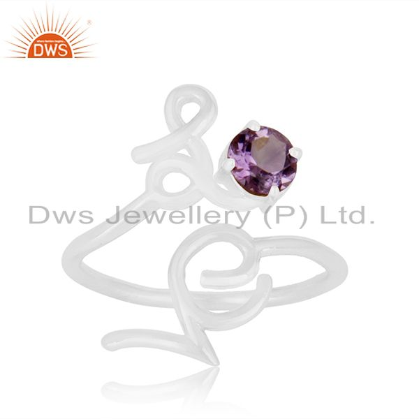 Exporter Custom Sterling Silver Love Initial Amethyst Gemstone Ring Manufacturer India