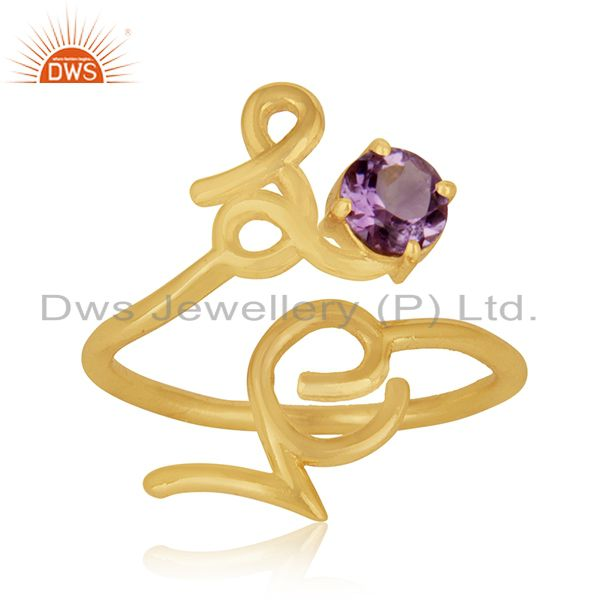 Exporter Initial Love Sterling Silver Gold Plated Amethyst Gemstone Christmas Gift Ring