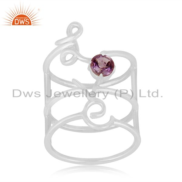 Exporter Amethyst Birthstone Love Initial 925 Silver Custom Ring Manufacturers