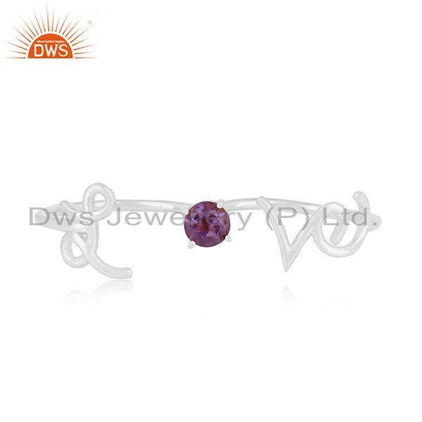 Exporter Amethyst Gemstone 925 Silver Love Initial Double Finger Ring Wholesale