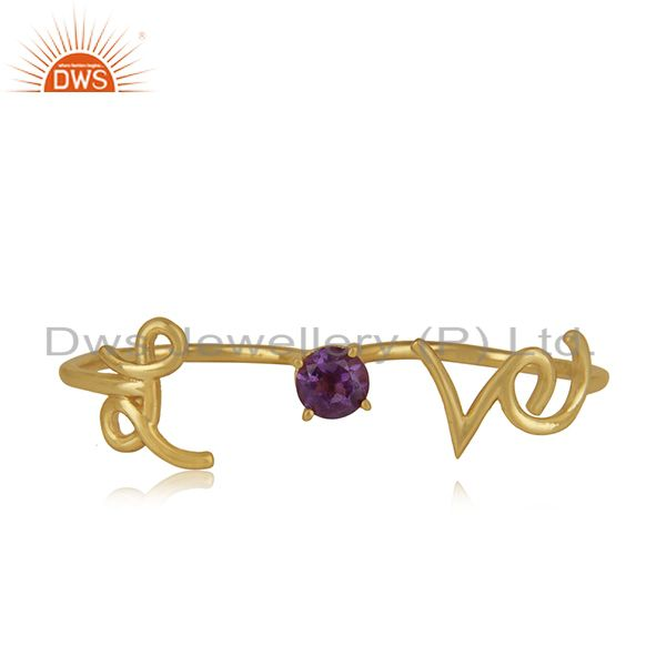 Exporter Amethyst Gemstone 925 Silver Love Initial Gold Plated Double Finger Ring