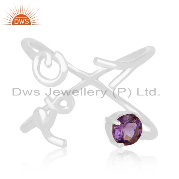 Exporter Initial Love 925 Silver Amethyst Gemstone Ring Jewelry Manufacturer