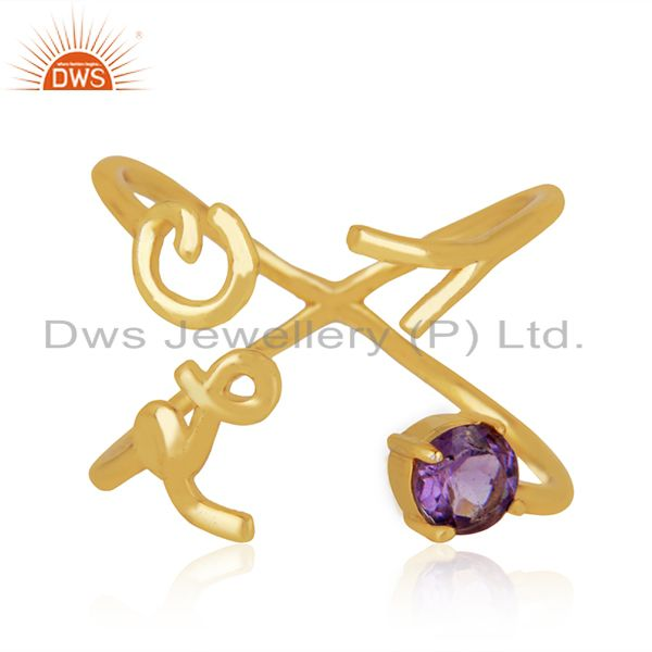 Exporter Initial Love Gold Plated 925 Silver Amethyst Gemstone Ring Suppliers