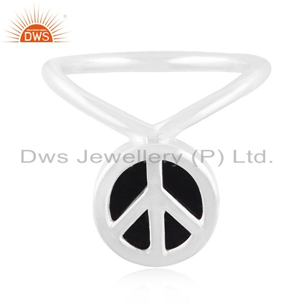 Exporter Custom Peace Sign Sterling Fine Silver Onyx Gemstone Ring Manufacturer
