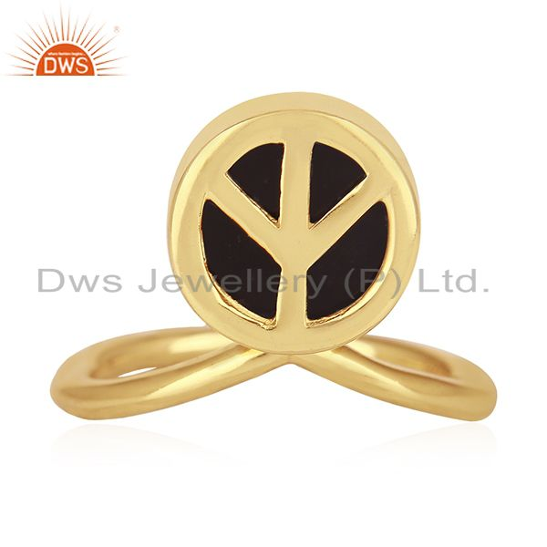 Exporter Peace Sign Gold Plated Sterling Silver Black Onyx Gemstone Charm Ring Wholesale