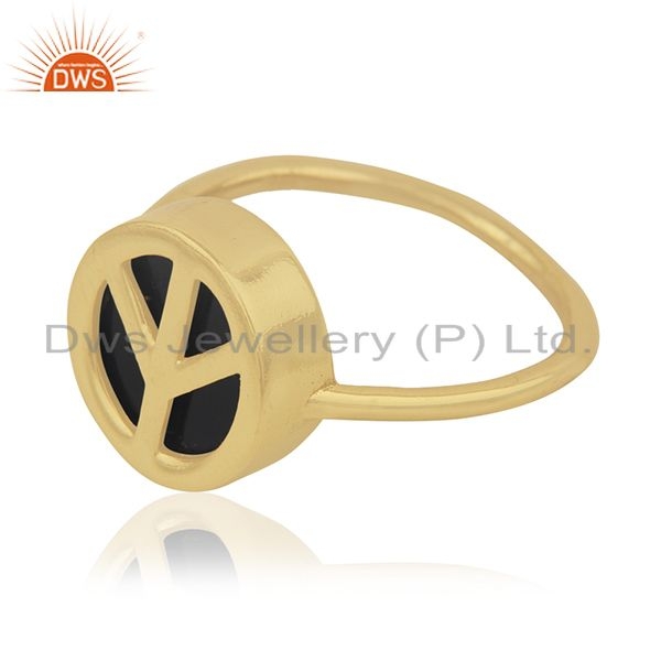 Exporter 14k Gold Plated Customized Peace Sign 925 Silver Ring Manufacturer India