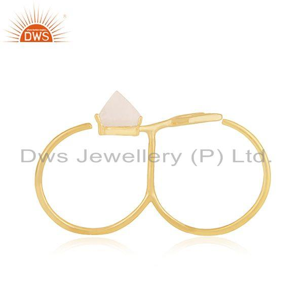 Exporter Arrow Design 925 Silver Gold Plated Moonstone Double Finger Ring Supplier