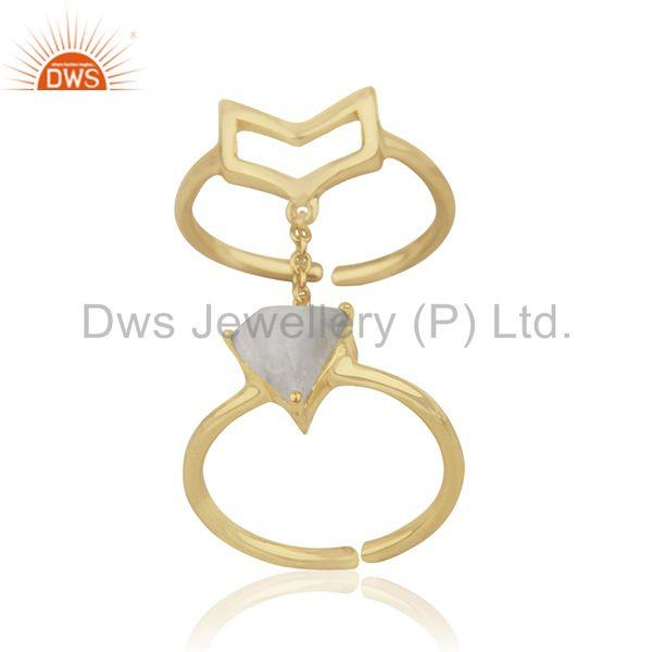 Exporter Arrow Shape Double Finger Sterling Silver Chain Ring Manufacturers