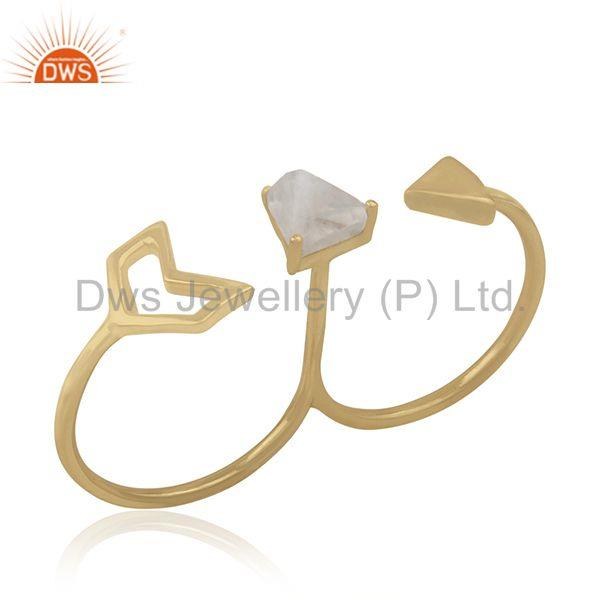 Exporter Gold Plated 925 Silver Gemstone Arrow Shape Double Finger Ring Jewelry Supplier