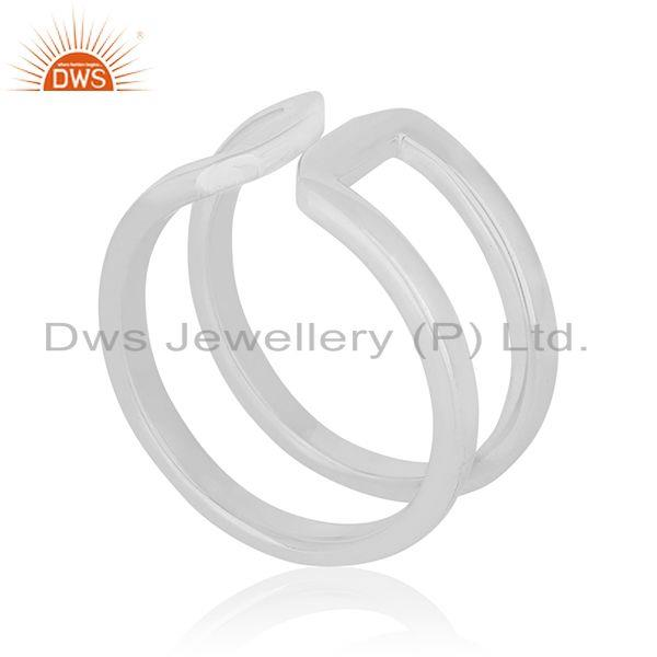 Exporter Simple Design 925 Sterling Silver White Rhodium Plated Openable Ring Wholesale