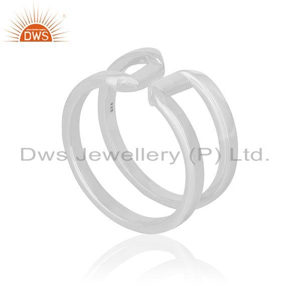 Exporter White Rhodium Plated Sterling 925 Silver Openable Unisex Ring Jewelry Wholesale