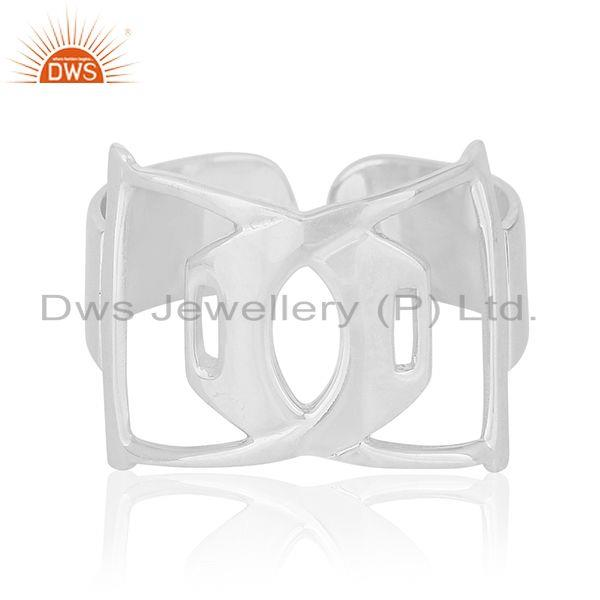 Exporter White Rhodium Plated Sterling 92.5 Plain Silver Openable Band Ring Wholesale