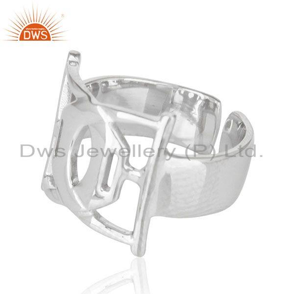 Exporter White Rhodium Plated Plain 925 Sterling Silver Cocktail Ring Manufacturer