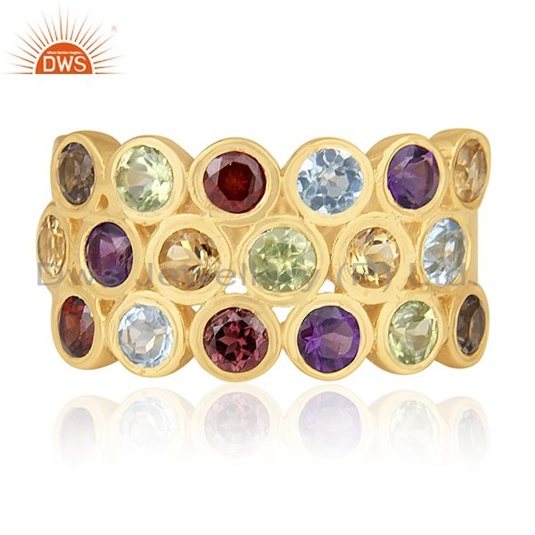 Exporter Multi Natural Gemstone Gold Plated Sterling Cocktail Ring Wholesale