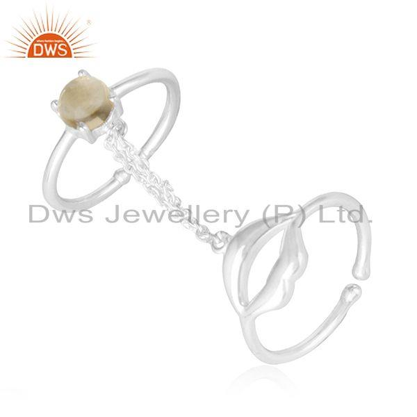 Exporter 925 Sterling Fine Silver Citrine Gemstone Double Finger Lip Design Ring Supplier
