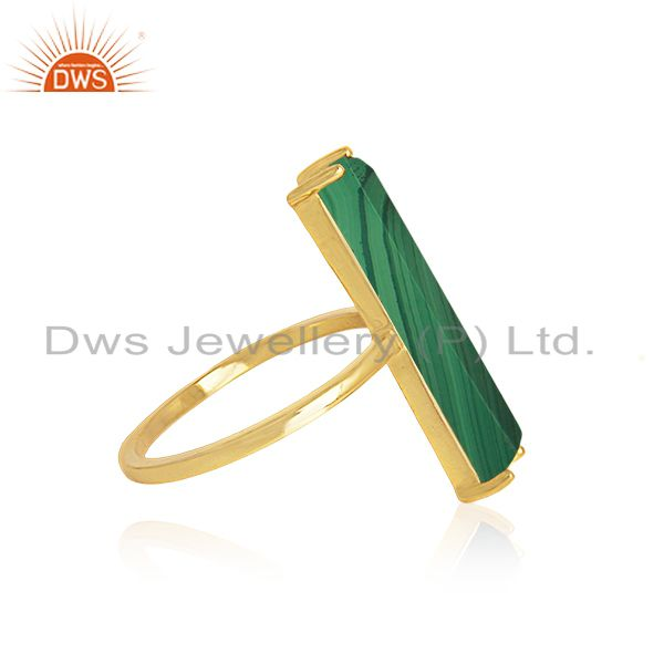 Exporter Malachite Gemstone 925 Silver Gold Plated Ring Manufacturer of Jewelry