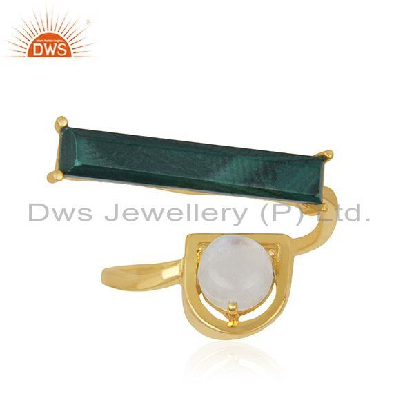 Exporter Malachite and Rainbow Moonstone Gold Plated 925 Silver Ring Manufacturer