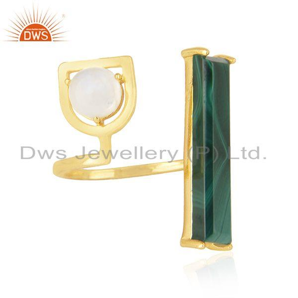 Exporter Gold Plated 925 Sterling Silver Multi Gemstone Ring Wholesale Suppliers