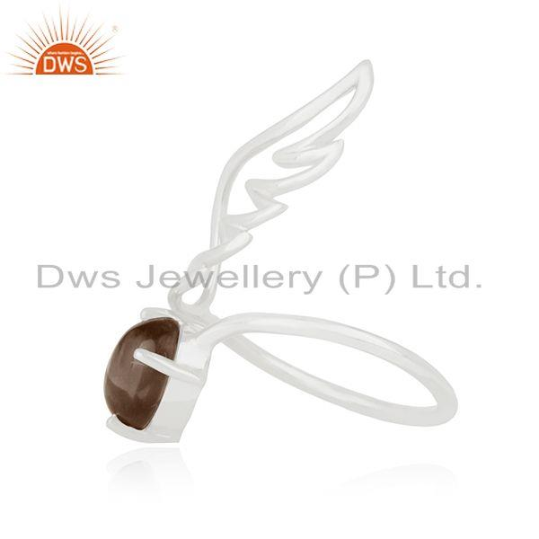 Exporter Angel Wing 925 Sterling Fine Silver Smoky Quartz Gemstone Ring Wholesale