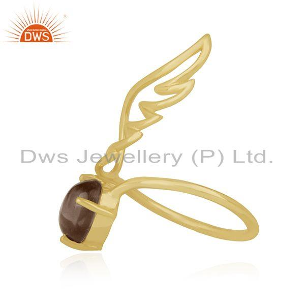 Exporter Amgel Wing 925 Sterling Silver Gold Plated Smoky Quartz Ring Manufacturers