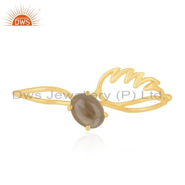 Exporter Angel Wing 925 Silver Gold Plated Smoky Quartz Double Finger Ring Wholesale