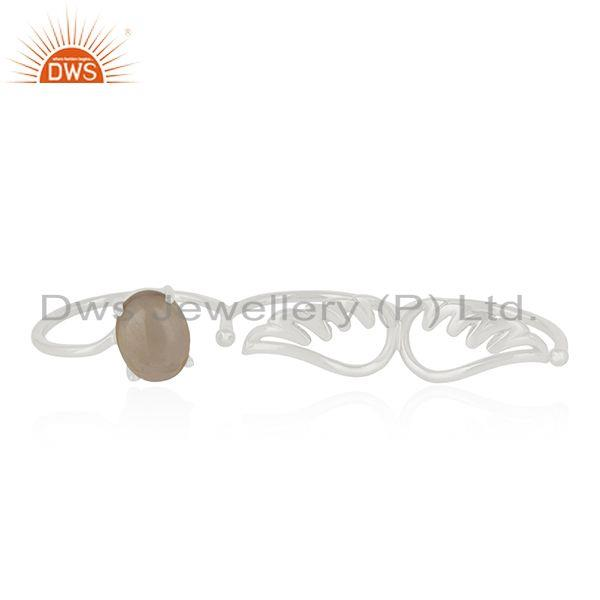 Exporter Fine Silver Smoky Quartz Angel Wing Three Finger Ring Manufacturer of Jewelry