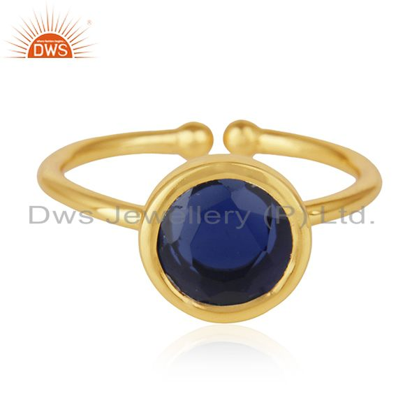 Exporter Blue Corundum Gemstone 925 Sterling Silver Gold Plated Ring Manufacturers