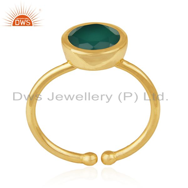 Exporter Green Onyx Gemstone 925 Sterling Silver Gold Plated Ring Wholesale Suppliers